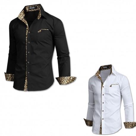 men's long sleeve slim fit tiger skin print pocket shirts