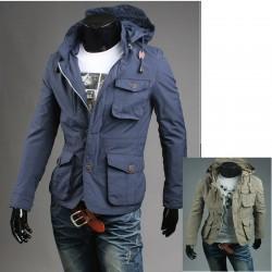 férfi katonai kabát kapucnis 4 pénztárca zseb