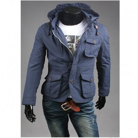 kişi hərbi jaket hoodie 4 cüzdan cib