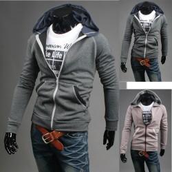 mäns hoodie zip upp färg lång dragkedja
