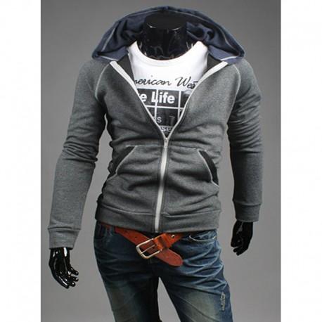 Mannen trui met capuchon zip-up kleur lange rits