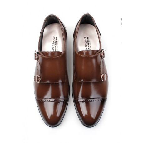 mens straight tip double bukle shoes