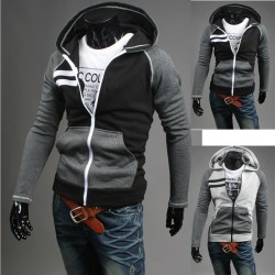 hoodie degli uomini zip up doppia linea a destra