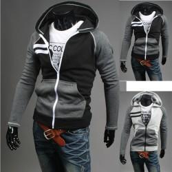 Mannen trui met capuchon zip-up dubbele lijn rechts