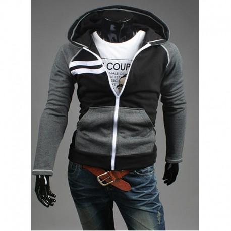 Męska bluza z kapturem zip podwójne prawo korekty