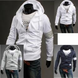 hoodie φερμουάρ ανδρών μέχρι 4 γραμμή άσπρο μανίκι