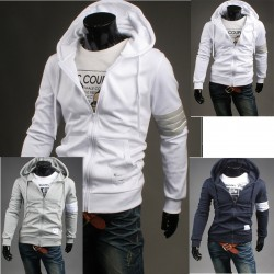 men's hoodie zip up 4 line white sleeve