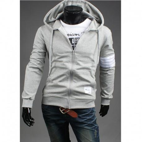 Mannen trui met capuchon zip up 4 lijn witte koker