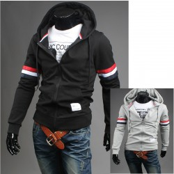 mäns hoodie zip upp dubbel france sjunker linje