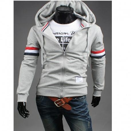 erkek hoodie çift fransa bayrağı hattı fermuarını
