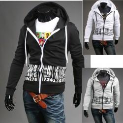 Męska bluza z kapturem zip kod kreskowy