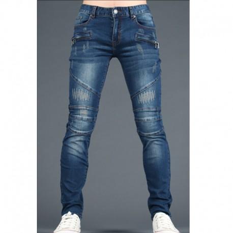 men's skinny jeans zigzag point quilt