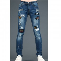 men's skinny jeans army patch