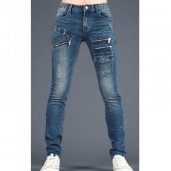 men's skinney jeans triple zipper pocket