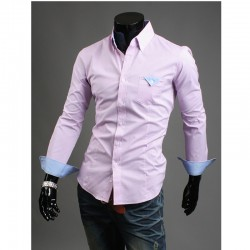 menns rosa lommetørkle skjorter