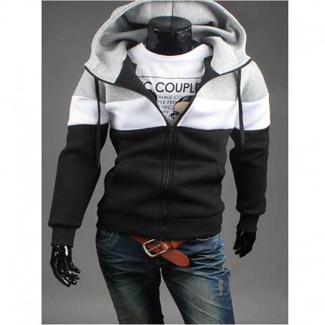 felpa con cappuccio da uomo con zip tasche linea 3 modo neoplan