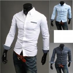 mäns läppficka dot print skjortor