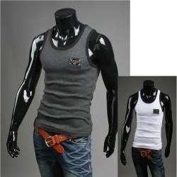 Herre shirt uden ærmer sølv metal patch skjorter