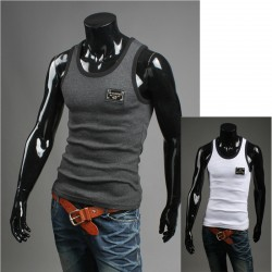 men's tank top silver metal patch shirts