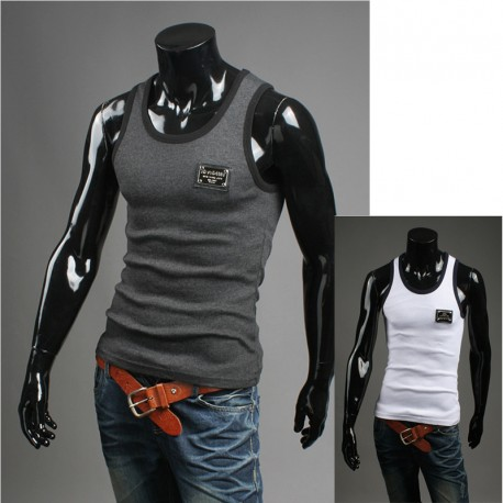 Mannen muscle zilver metaal patch shirts