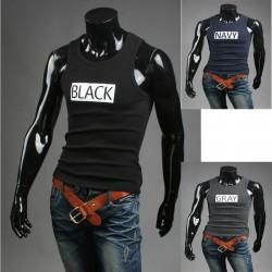 мъжки резервоар топ черни ризи